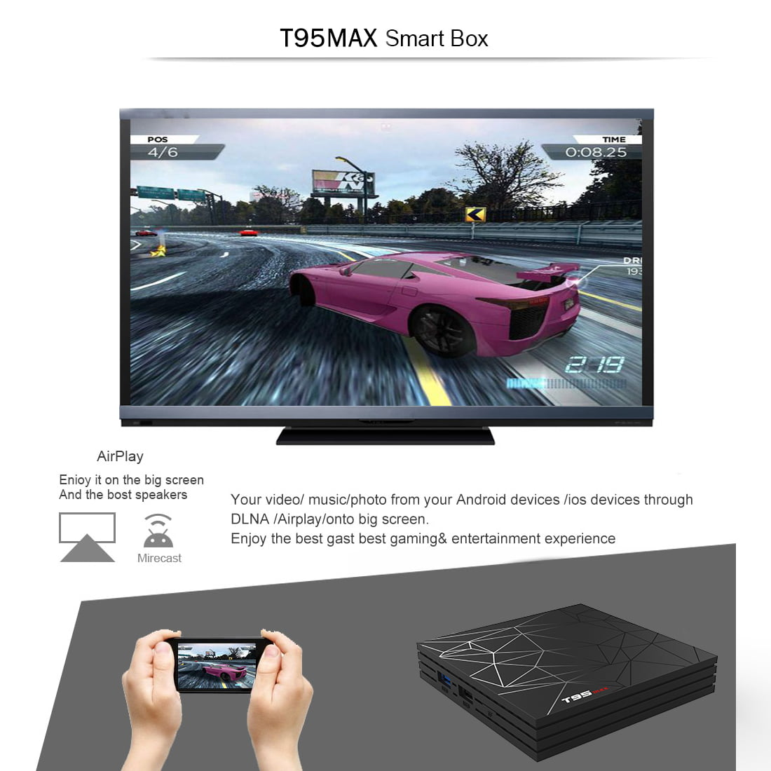 Firefly IV522 MXQ 4K android tv box quad core cortex a53 2 0ghz 1gb 8gb wifi hd 4k player 10