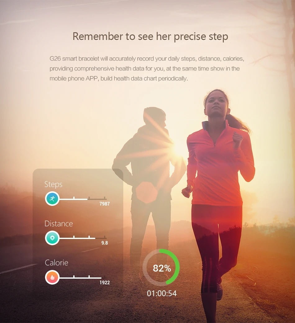 G26 0.96 inch Blood Oxygen Pressure Heart Rate Sleep Reminder Fitness (14)