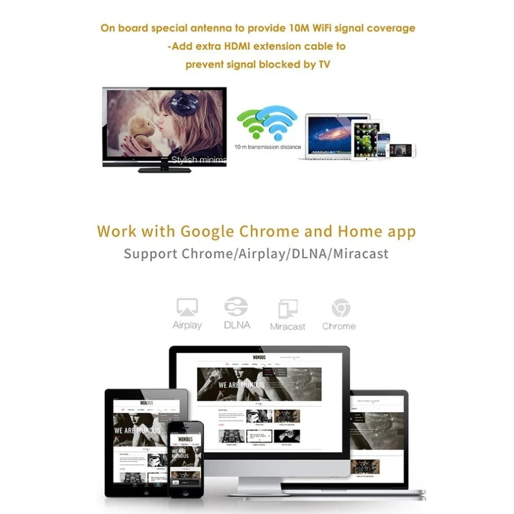 G5A Wireless Display Mirroring Device WiFi Display Screen Mirroring TV Stick (1)