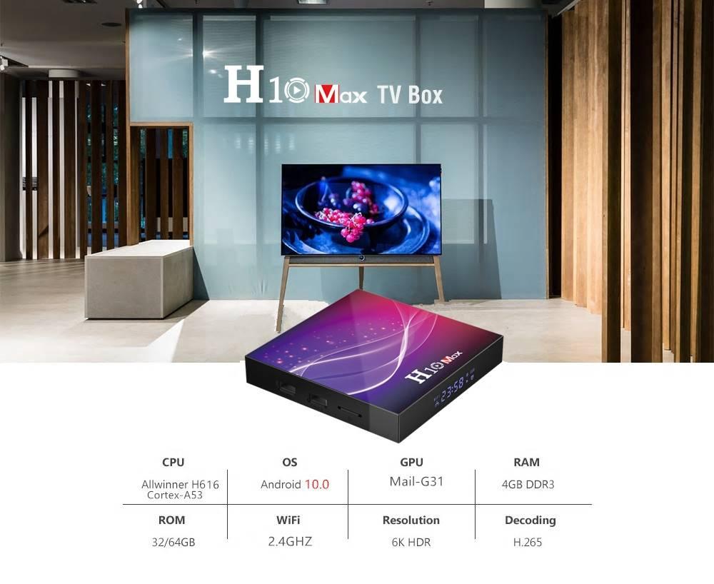 H10 MAX Allwinner H616 4GB RAM 32GB ROM Android 10 Smart TV Box (2)