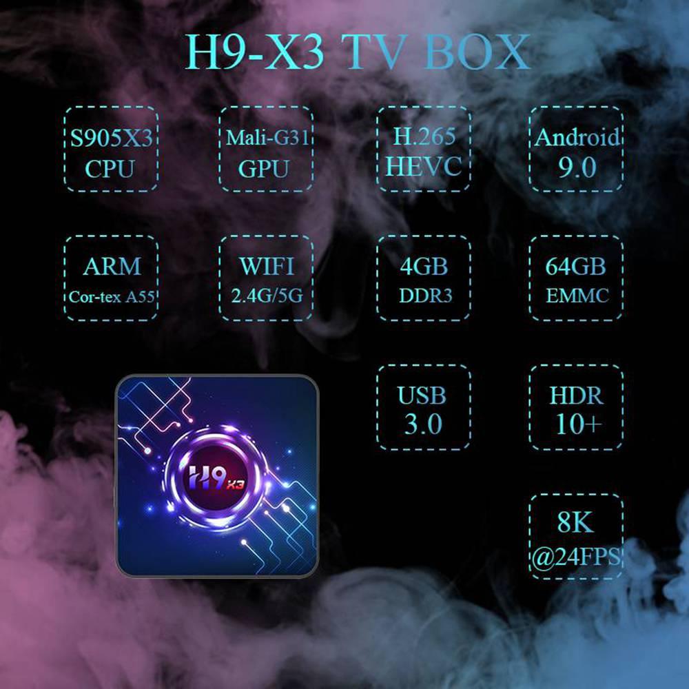 H9 X3 Amlogic S905x3 4GB RAM 32GB ROM Android 9.0 8K TV Box (5)