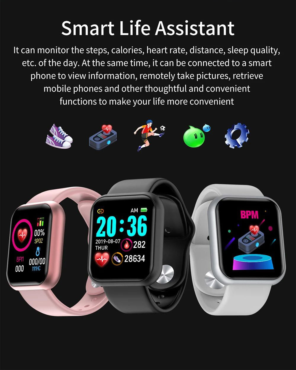 L18 SmartWatch heart rate blood pressure oxygen monitor (20)