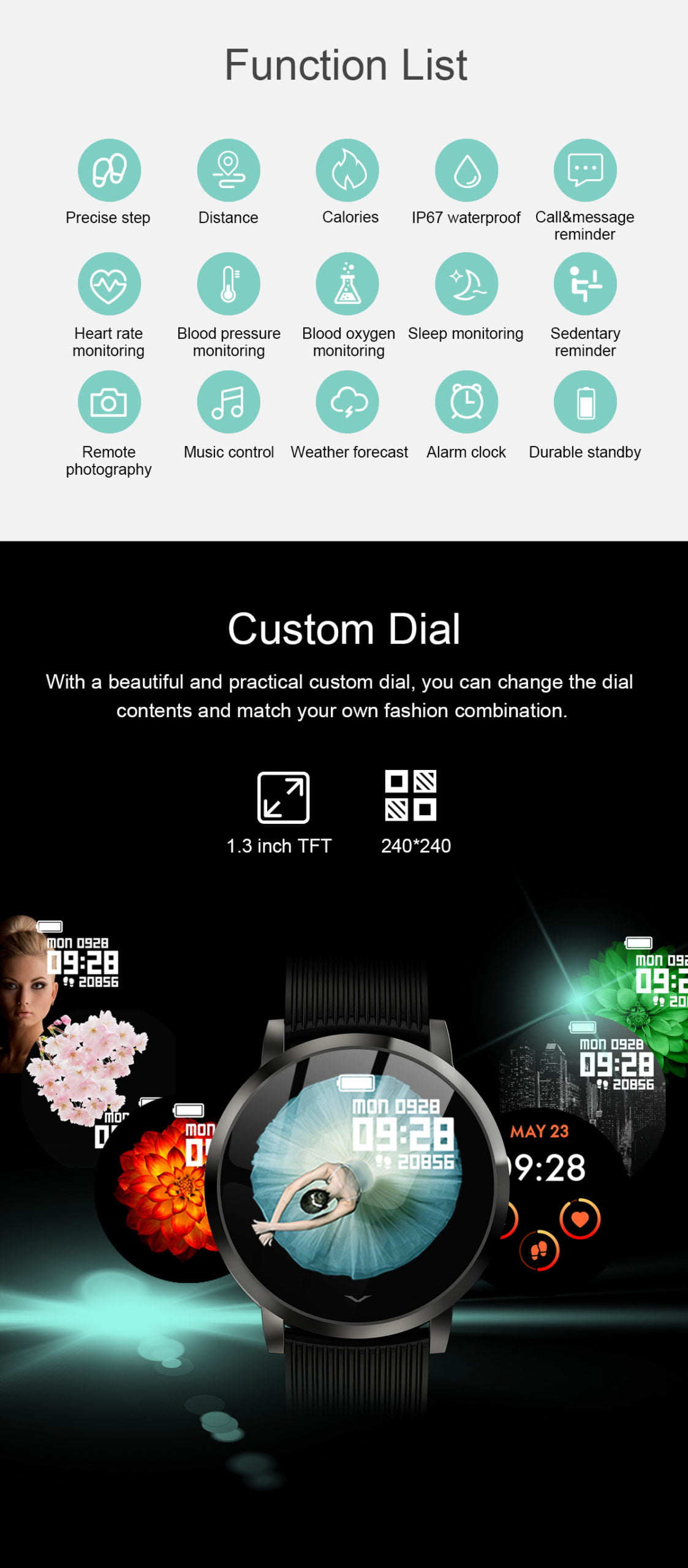 LV09 Smart Watch 1.3 inch custom dial real-time heart rate monitor (13)
