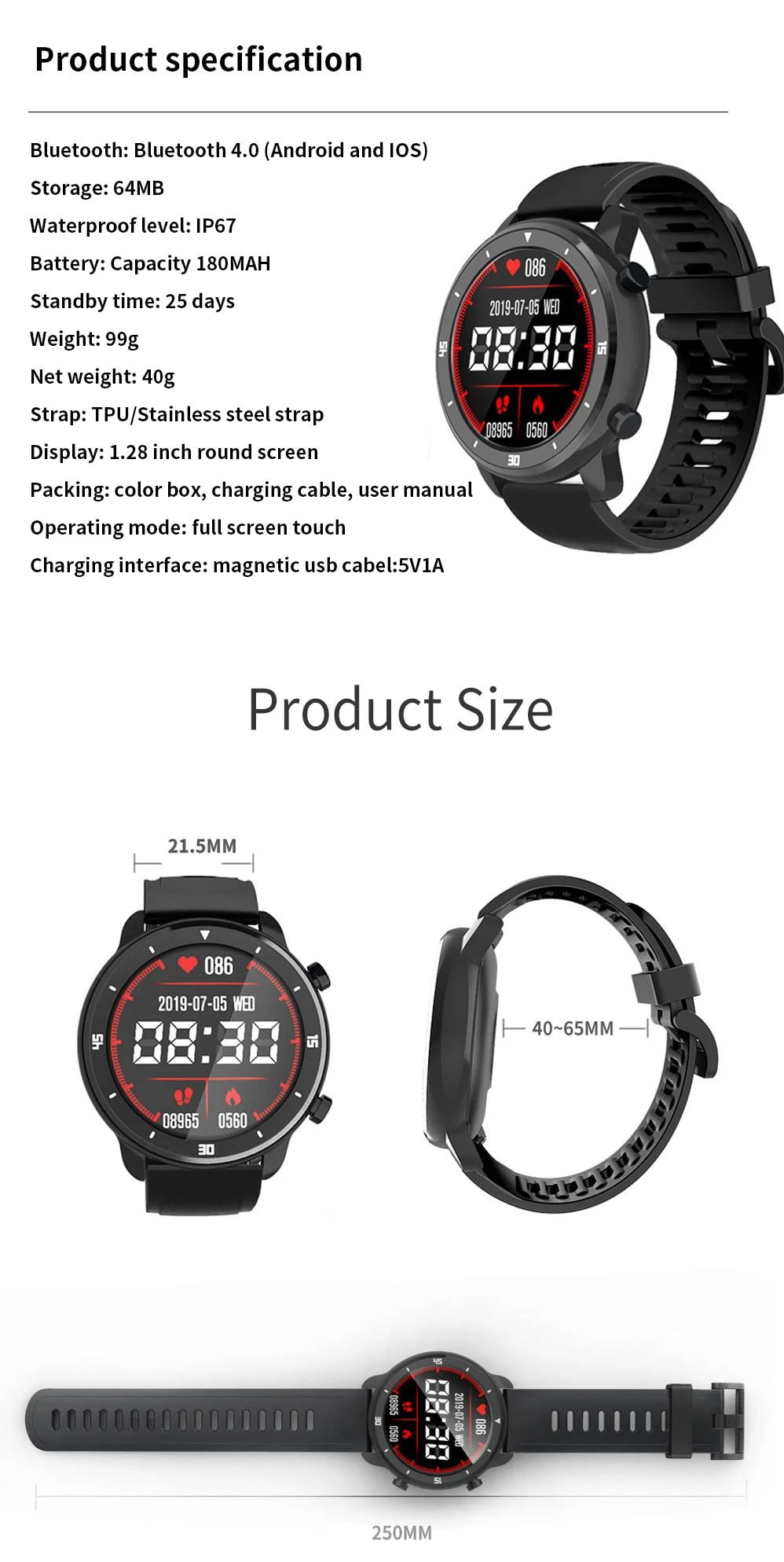 M37 full touch screen heart rate blood pressure monitor (19)
