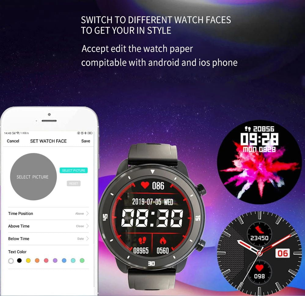 M37 full touch screen heart rate blood pressure monitor (8)