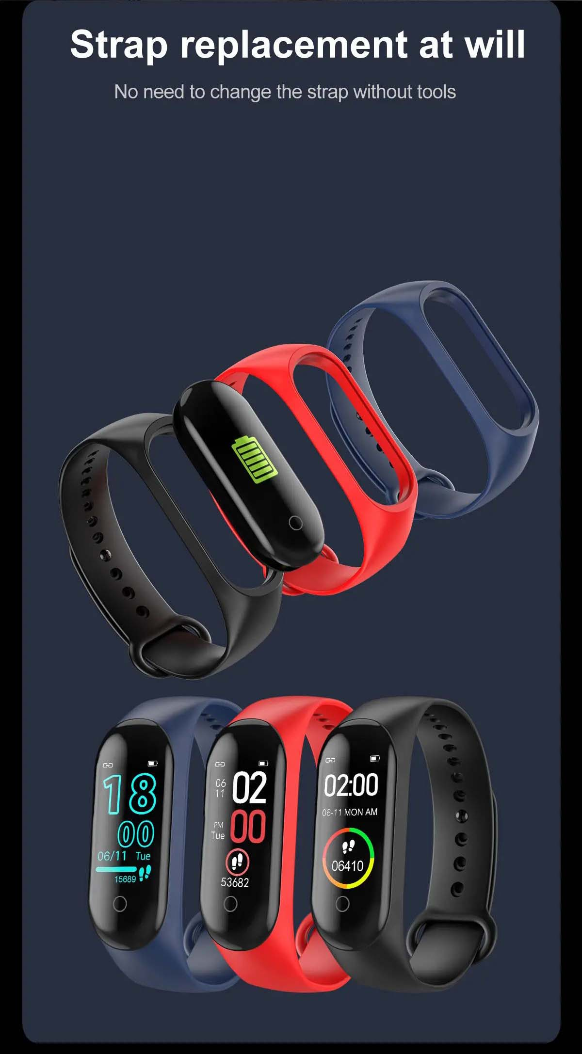 M4 max Smart watch wristband color screen ip67 blood pressure o2 smart (23)