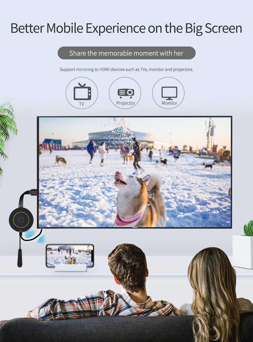MiraScreen G10A Wireless Display Receiver Plug Play 2.4G 5G WIFI (5)