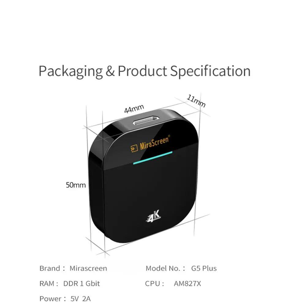 Mirascreen G5 plus 2.4G 5G wireless 4k hd h.265 display dongle (6)