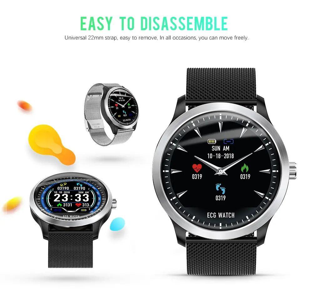 N58 ecg Smart Watch display stainless steel hr sleep monitor (10)