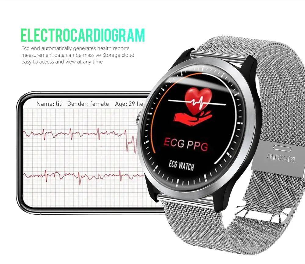 N58 ecg Smart Watch display stainless steel hr sleep monitor (6)