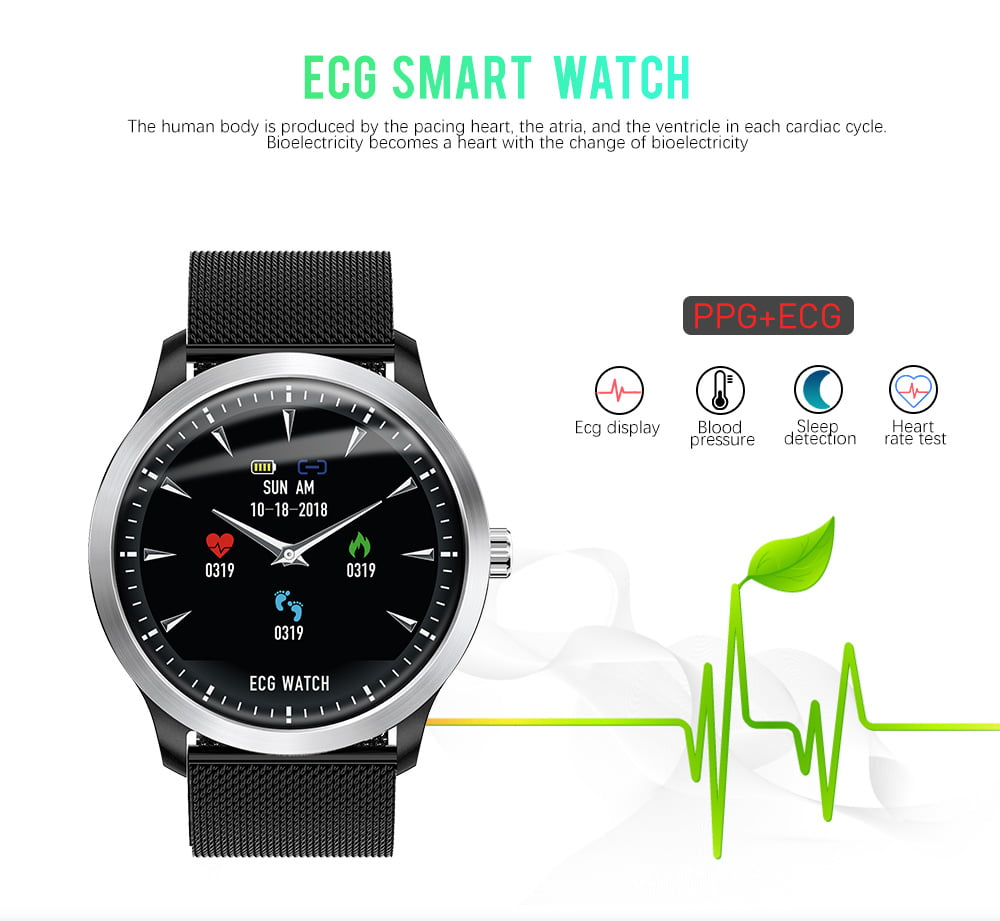 N58 ecg Smart Watch display stainless steel hr sleep monitor (7)