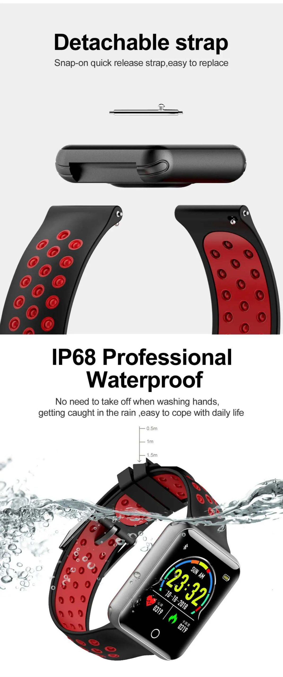 Q81 1.54 hd color screen smart bracelet hr monitor Wholesale (16)