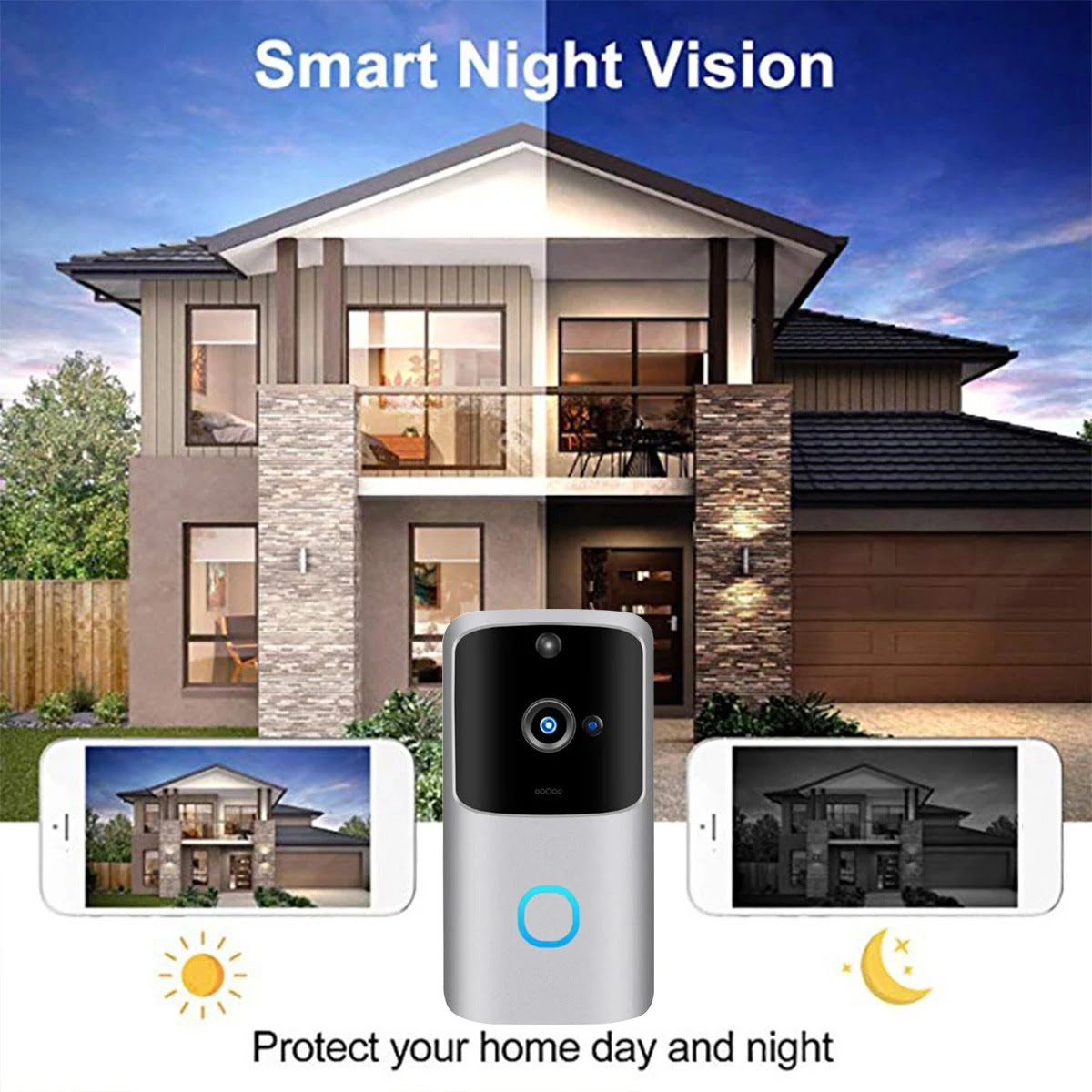 SH01 1080P HD Wireless Wifi Smart Doorbell Camera PIR Bell Security Home (11)