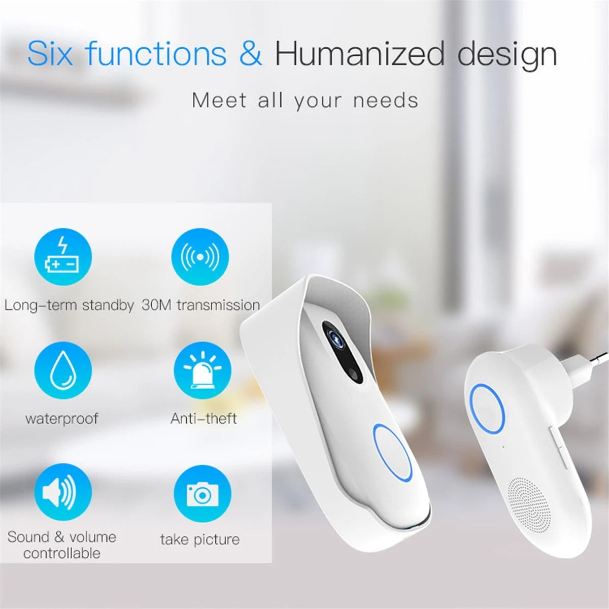 SH02 Smart Wireless Doorbell Lens Video HD Security Camera Night Vision App Control (13)