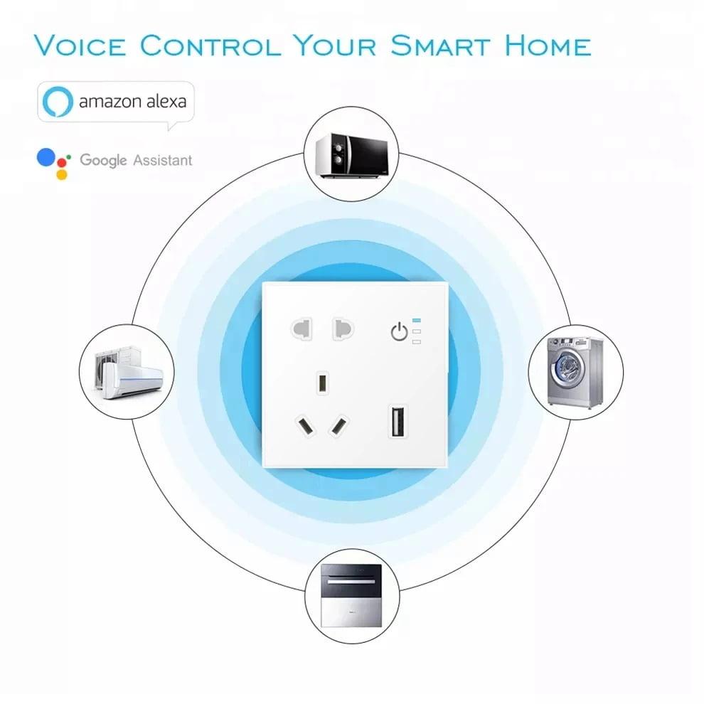SP04 Tuya Smart Wifi Power Outlet Plugs Alexa Voice Control 86 Remote Control (10)
