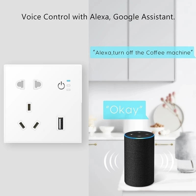 SP04 Tuya Smart Wifi Power Outlet Plugs Alexa Voice Control 86 Remote Control (5)