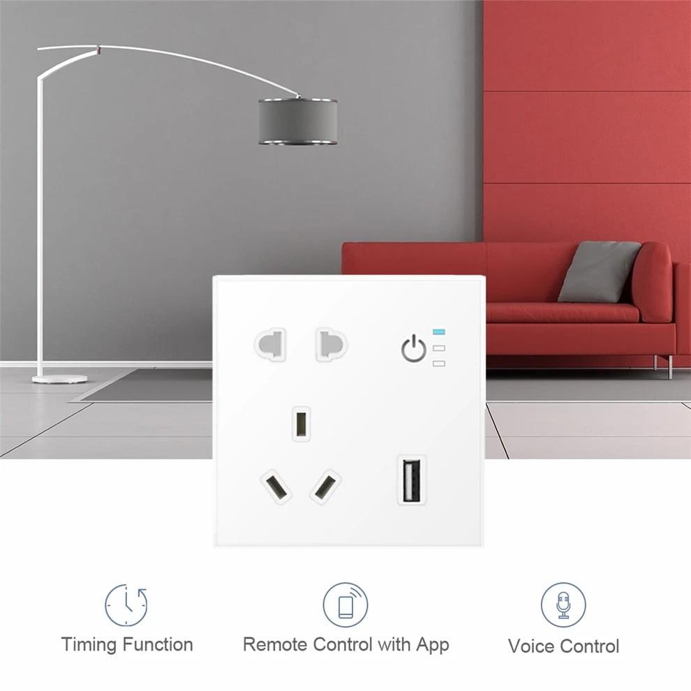 SP04 Tuya Smart Wifi Power Outlet Plugs Alexa Voice Control 86 Remote Control (8)