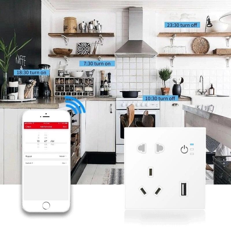 SP04 Tuya Smart Wifi Power Outlet Plugs Alexa Voice Control 86 Remote Control (9)