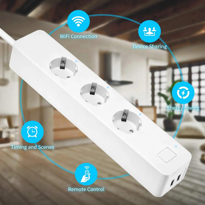 SP14 13A EU Plug USB Smart WIFI Home Power Strip Work with Alexa Smart Home (12)
