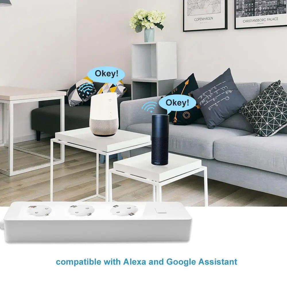 SP14 13A EU Plug USB Smart WIFI Home Power Strip Work with Alexa Smart Home (4)