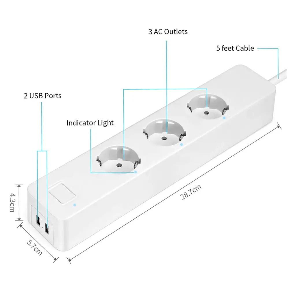 SP14 13A EU Plug USB Smart WIFI Home Power Strip Work with Alexa Smart Home (5)