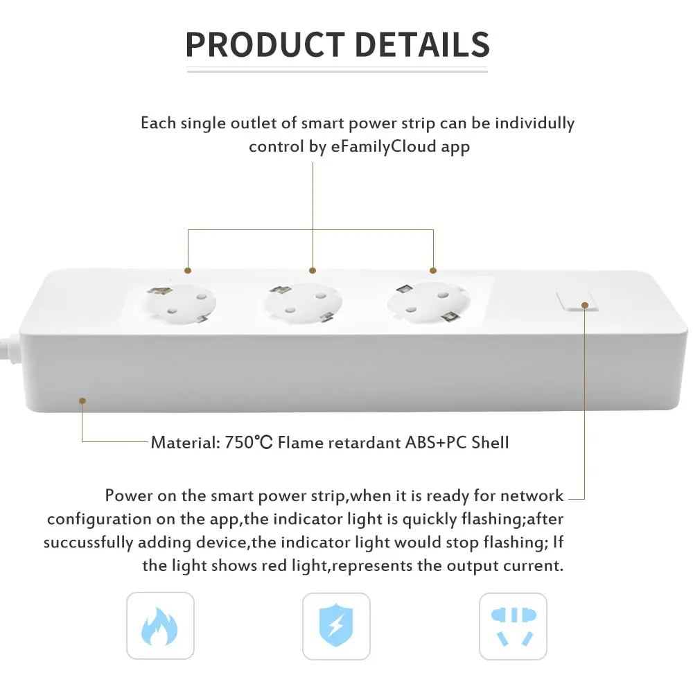 SP14 13A EU Plug USB Smart WIFI Home Power Strip Work with Alexa Smart Home (7)