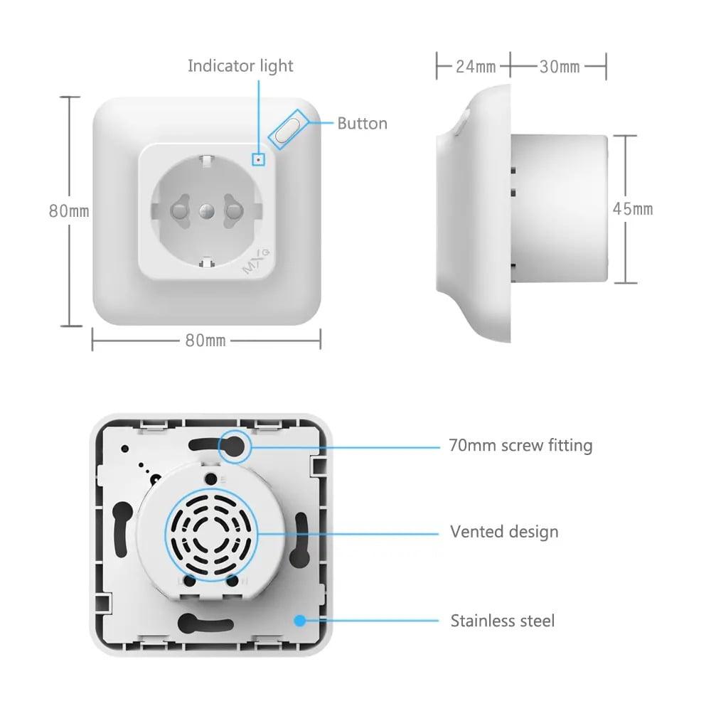 SP25Q 2500W 10A Dual USB Fast Charging Auto Power Off Smart Wireless Socket (6)
