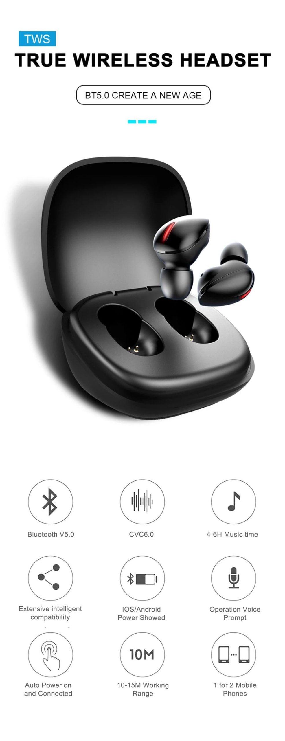 T2 mini tws bluetooth 5.0 wireless earphone stereo bass (1)