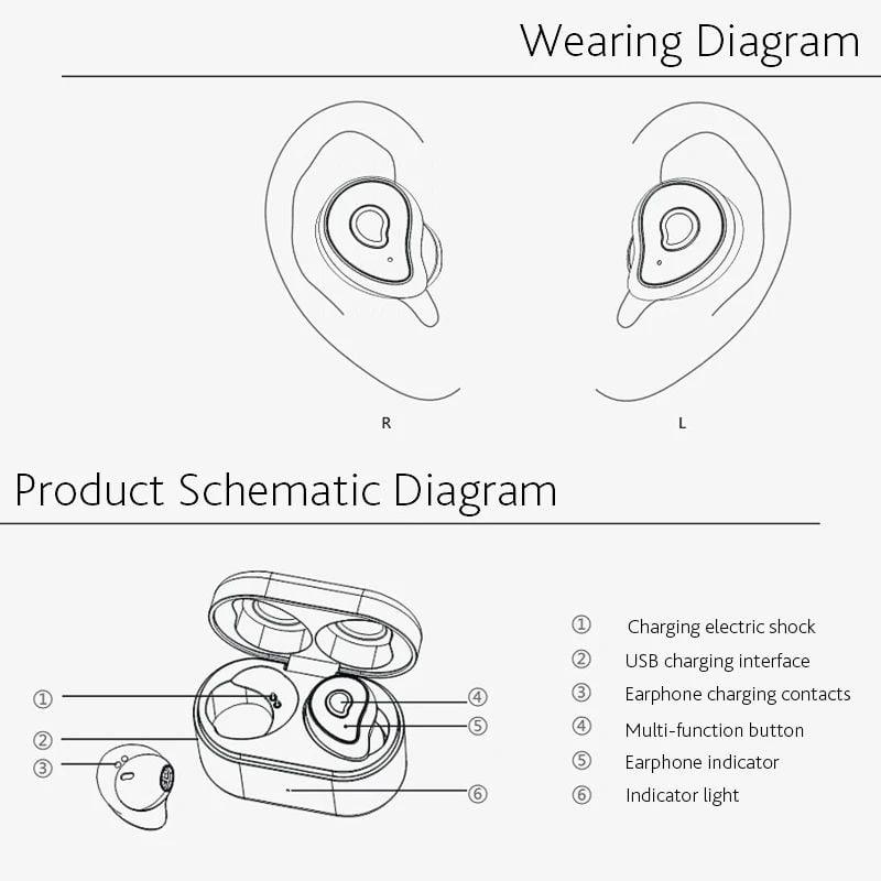 TW2 Bluetooth 5.0 tws true wireless earbuds stereo auto paring earphone (9)