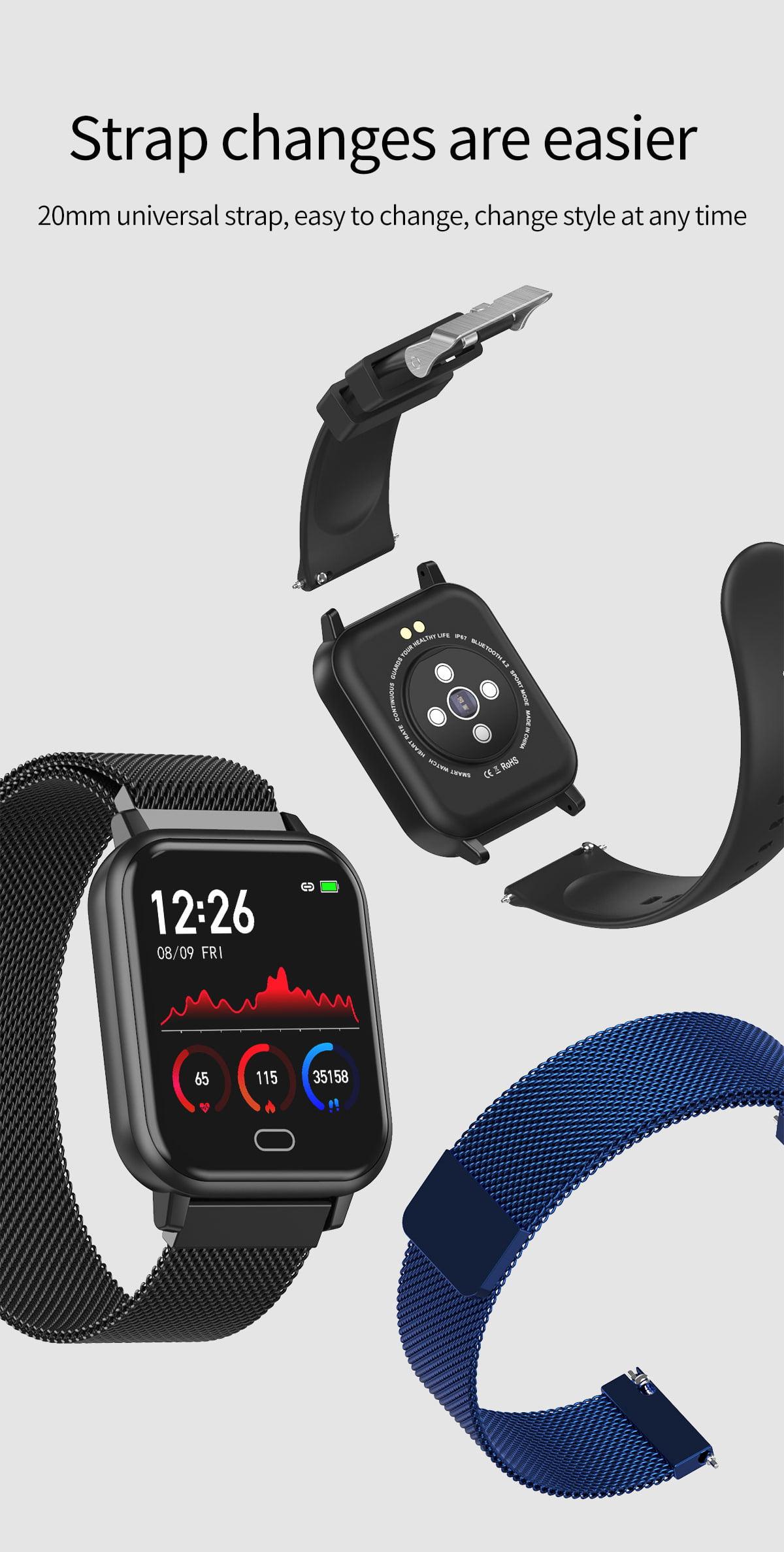 Watch 6 smart watch heart rate blood pressure oxygen monitor wristband (18)