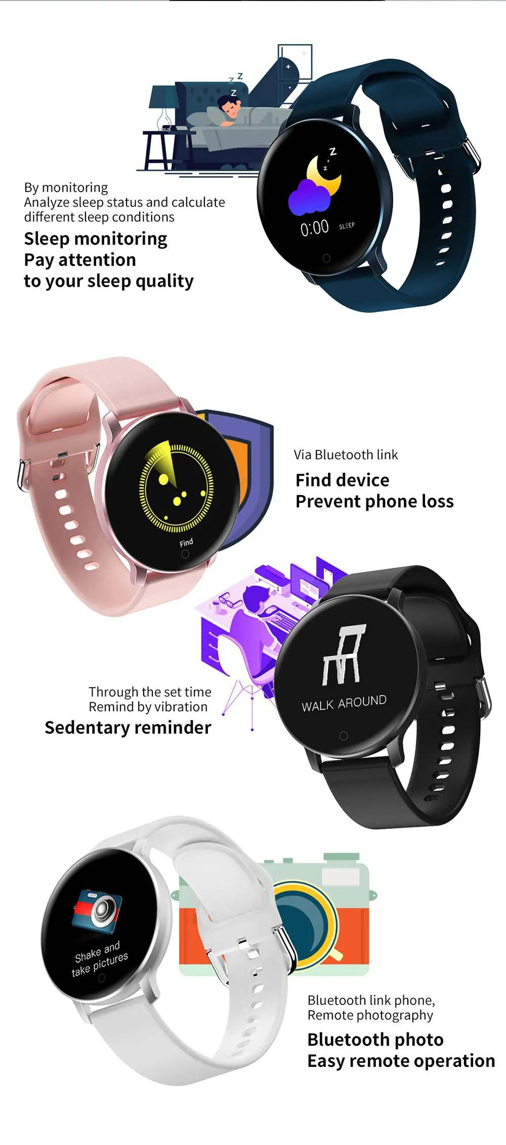 X9 1.3 inch heart rate blood pressure monitor smart watch (3)