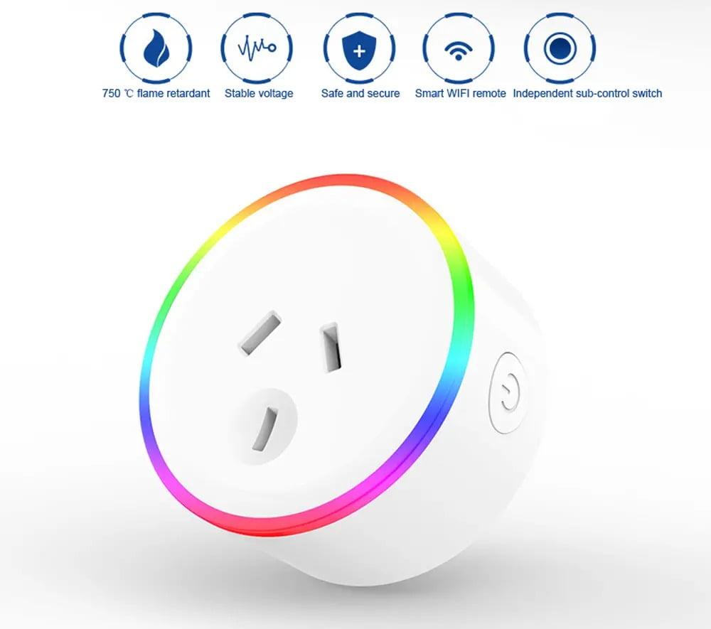 XS-A18 AC100-240V 10A AU Plug Smart RGB LED Light Smart Wifi Socket Voice Control (11)