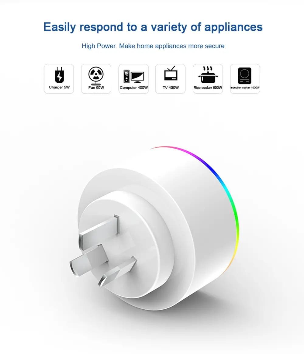 XS-A18 AC100-240V 10A AU Plug Smart RGB LED Light Smart Wifi Socket Voice Control (5)