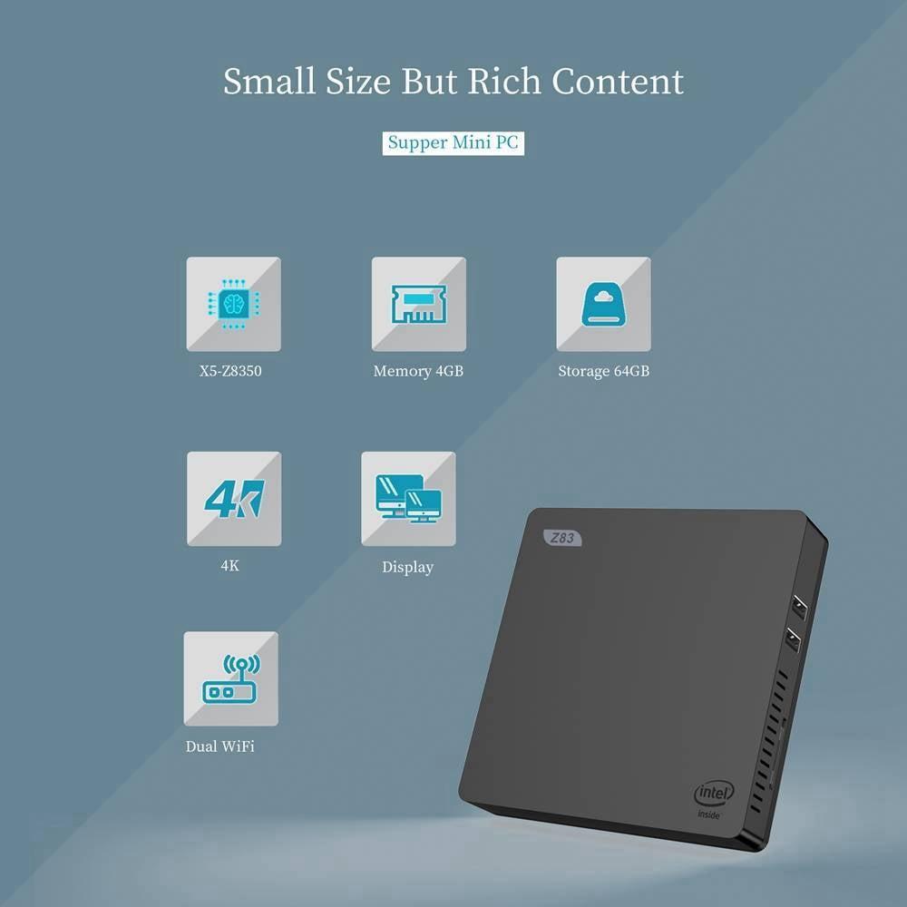 Z83V Windows 10 64Bit Intel Atom X5 Z8350 4K Mini PC (6)