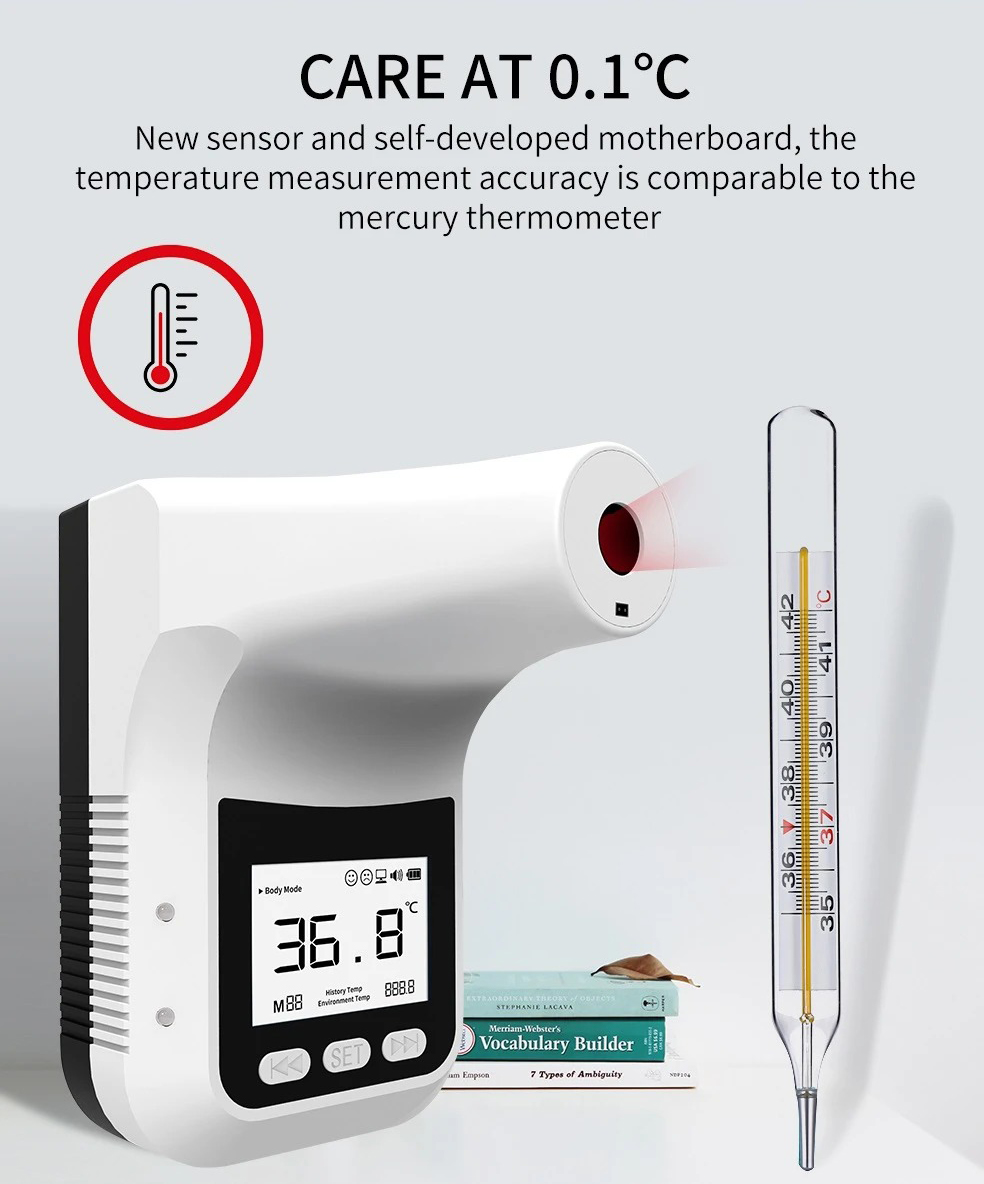 Yatay K3 Pro Infrared Thermometer Non-Contact Wall-Mounted Fixed Digital Electronic Thermometer Forehead Wall-Mounted Type 12