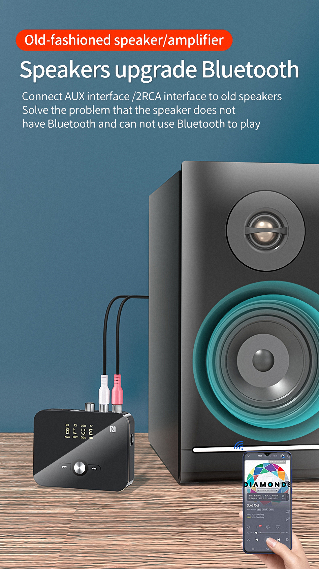 Firefly M8 NFC-enabled bluetooth Transmitter V5.0 Audio Receiver (1)