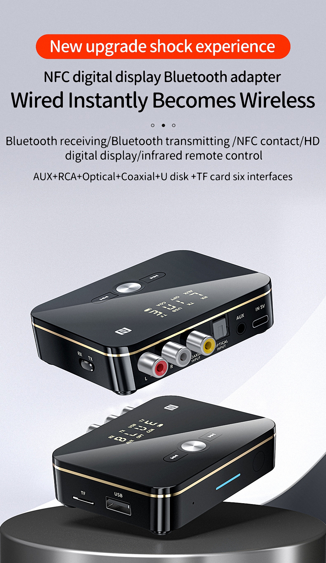 Firefly M8 NFC Bluetooth Receiver 3-in-1 Bluetooth Adapter 500mAh With Remote Control (4)