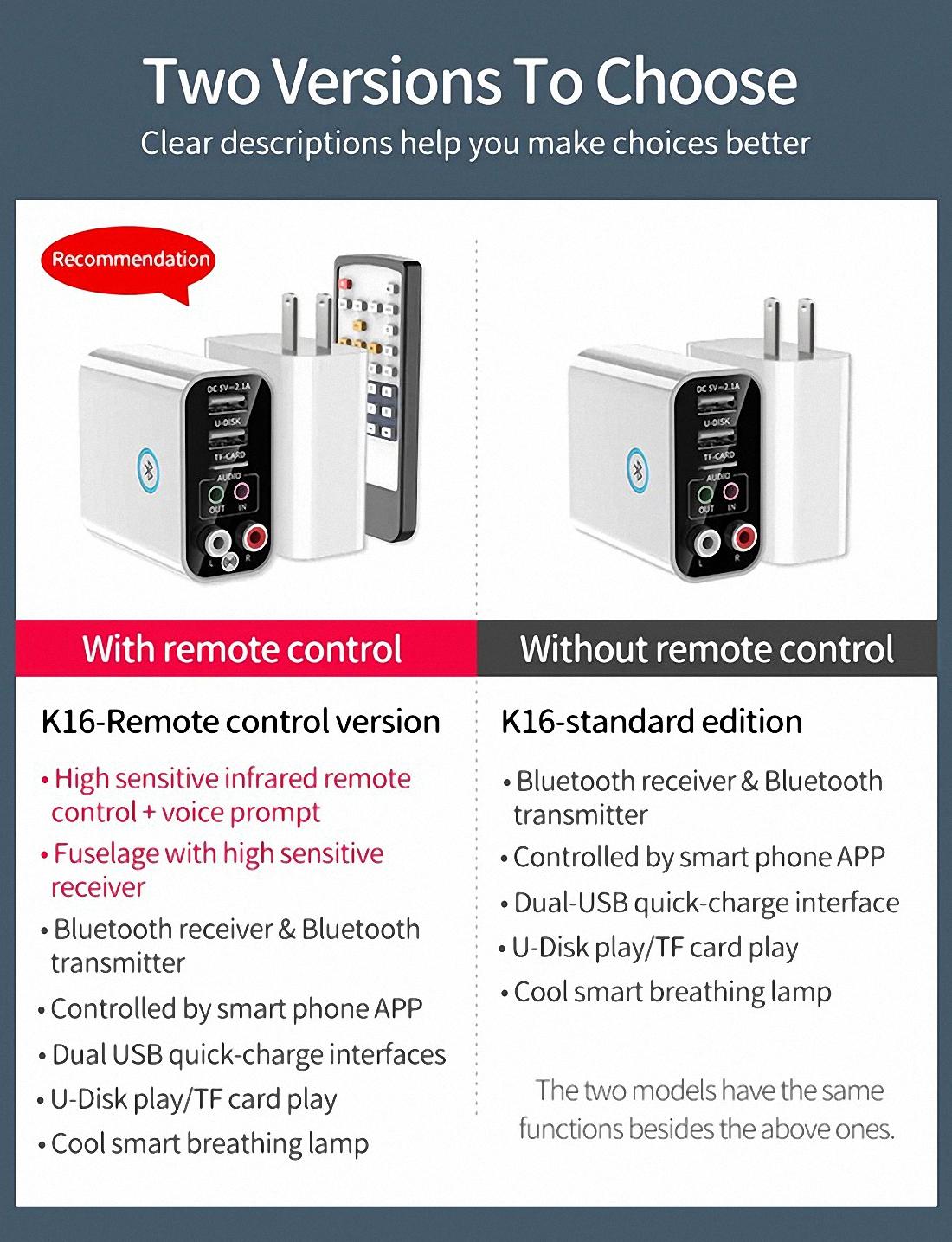 Smart bluetooth Adapter K16 Wireless Audio Receiver Transmitter Firefly (1)