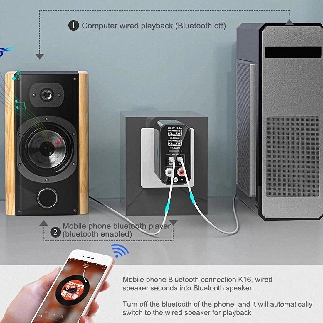 Smart bluetooth Adapter K16 Wireless Audio Receiver Transmitter Firefly (7)