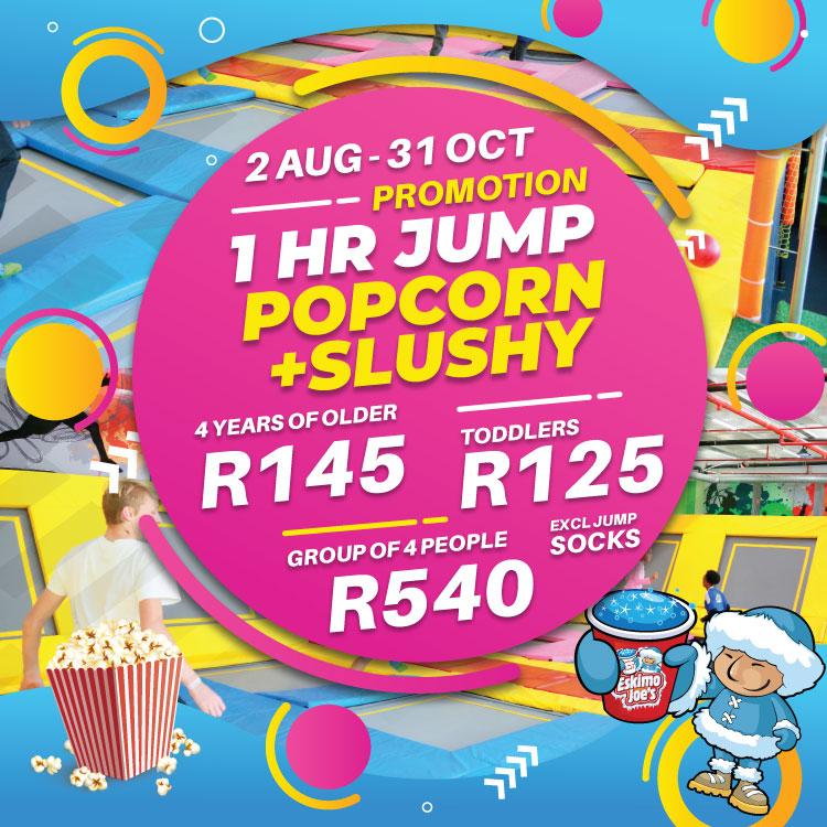 1hr Jump, Slushy + Popcorn Combo