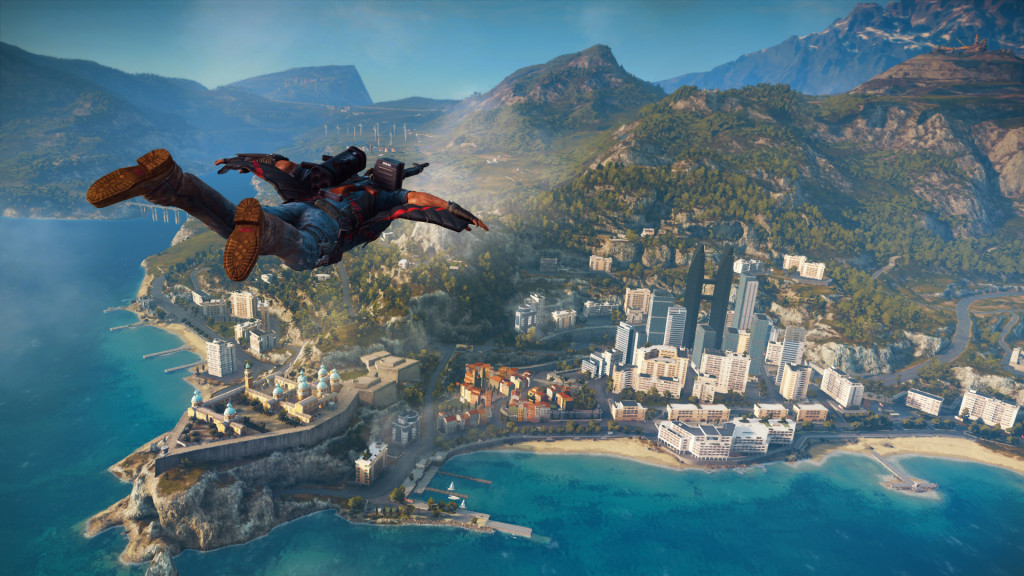 Using Rico's wingsuit to soar over a city is one of JC3's trademark moments, and a pure power fantasy.
