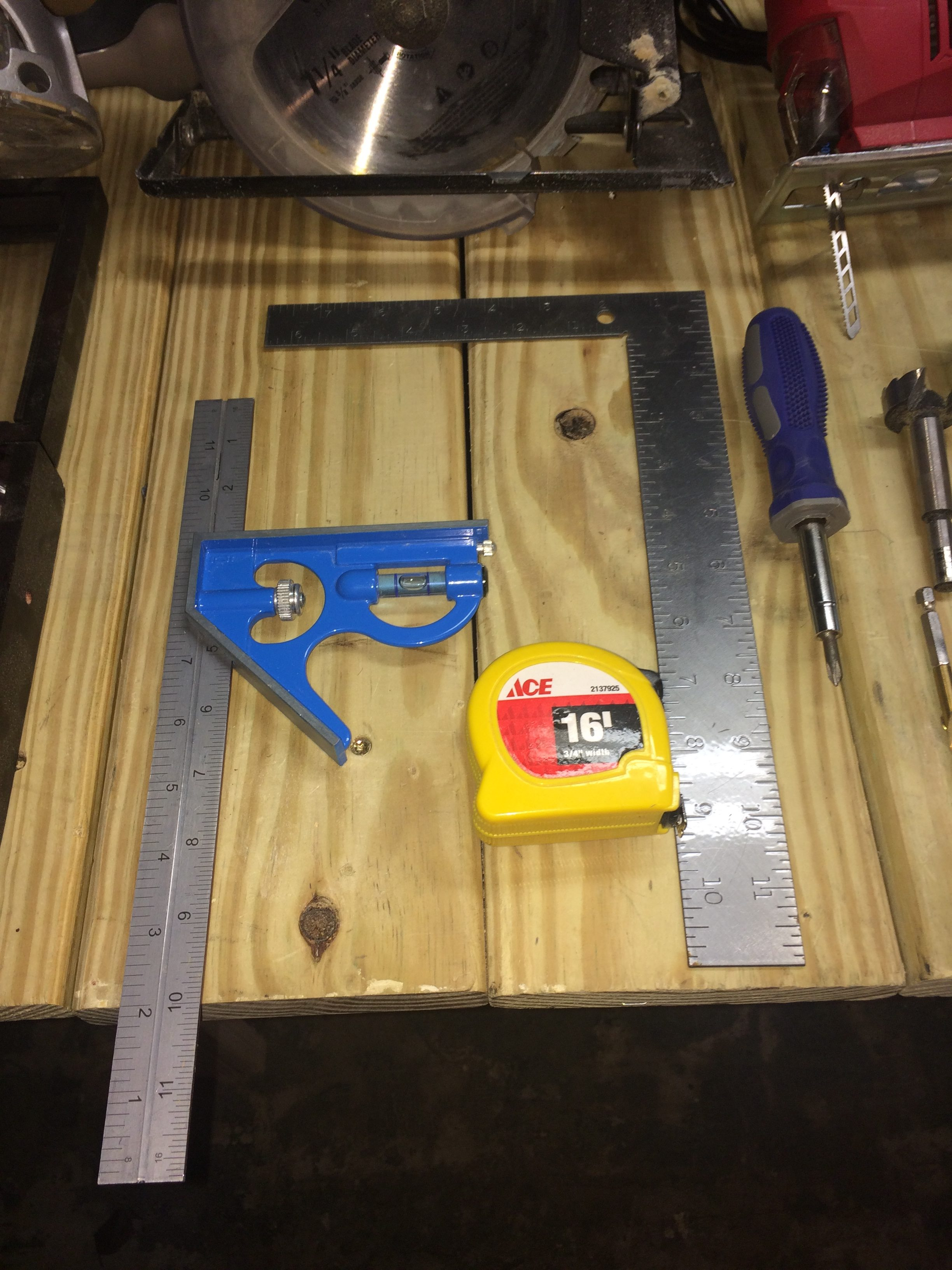 Adjustable Combination Try Square, Square Measure, and Tape Measure