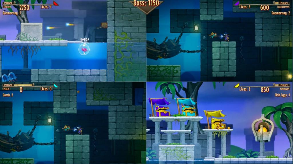 four player splitscreen in Aqua Lungers