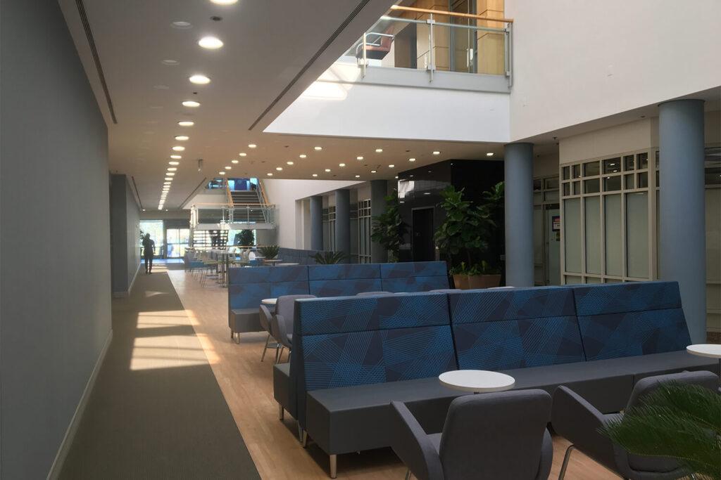 Atrium interior lobby & seating space