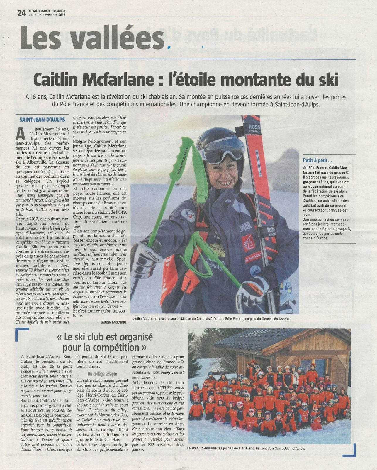 Article de presse - Caitlin McFarlane