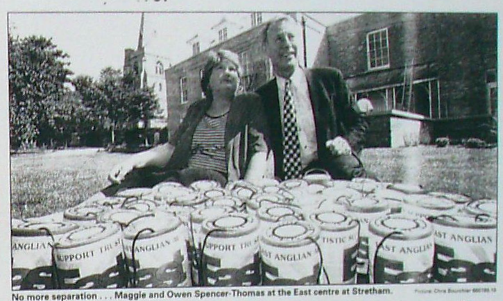 Owen and Maggie with collecting tins