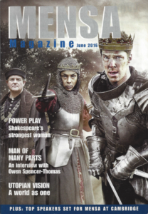 Mensa magazine front cover
