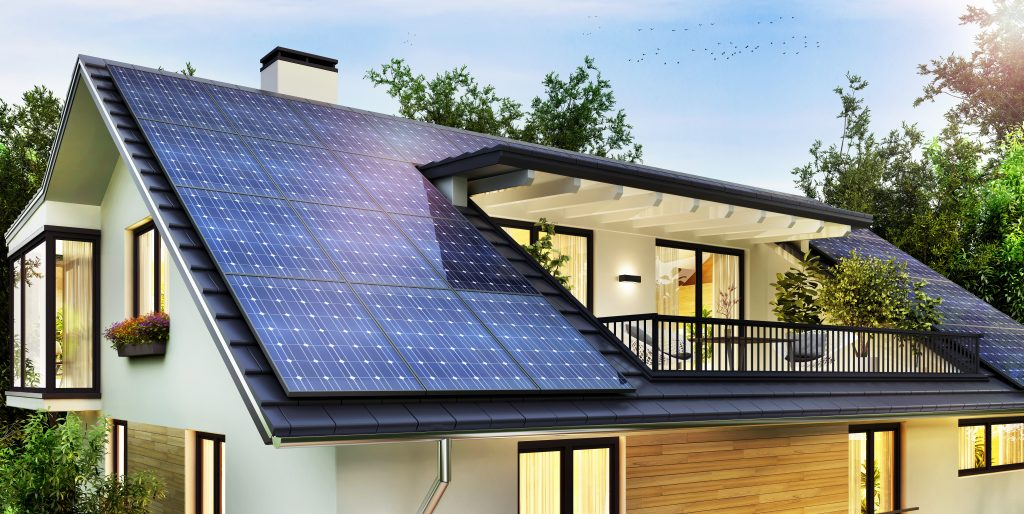 Solar roof with balcony