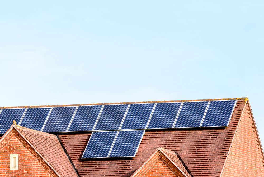 House in the UK with solar panels