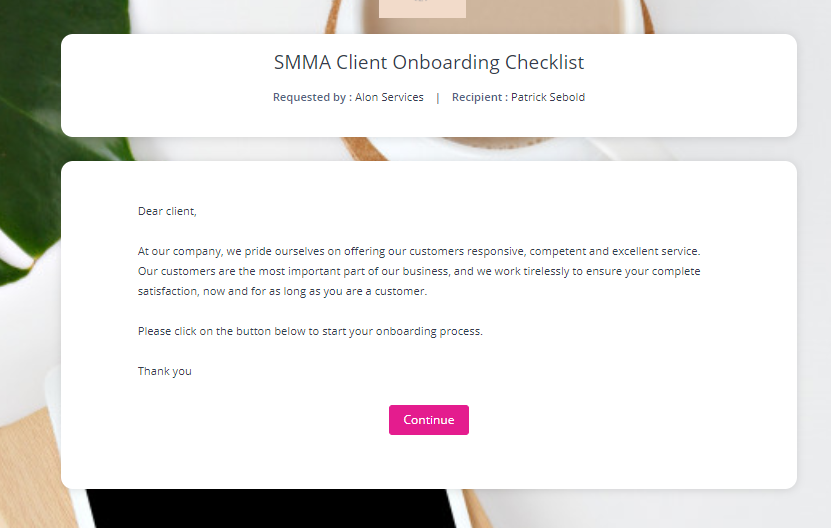 welcome message onboarding
